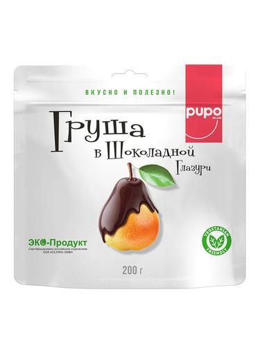 """Фрукты сушенные в шоколадной глазури PUPO """"Груша"""" 200гр Дой-пак (10шт - упак)"""