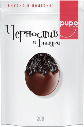 """Фрукты сушенные в шоколадной глазури PUPO """"Чернослив"""" 200 гр Дой-пак (10шт - упак)"""