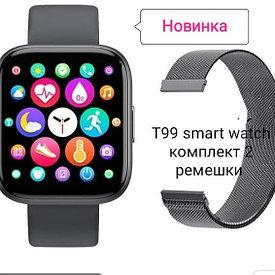 Смарт часы с тонометром и пульсометром Т99S водонепроницаемые , розовые