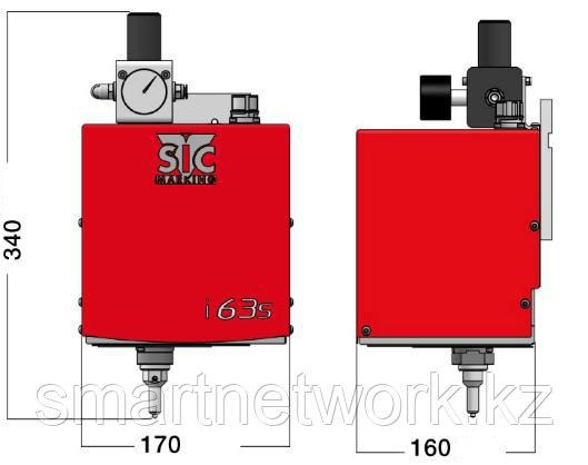 Интегрируемый маркиратор e10-i63s, окно 60х30мм, прочерчивание, поршень d=20мм