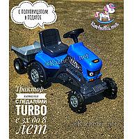 Каталка трактор с педалями «Turbo» с полуприцепом синий