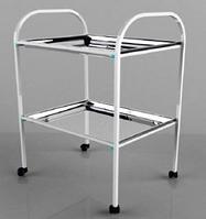 Столик процедурный с 2-мя металлическими поддонами (никелированными) СП2/01