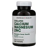 American Health, Chelated Calcium Magnesium Zinc ( Кальций,Магний,Цинк ) 250 таблеток