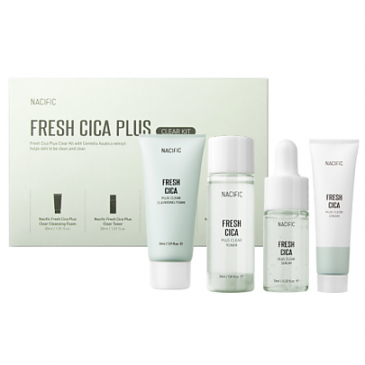 Nacific Набор для проблемной кожи Fresh Cica Plus Clear Kit (Тонер 30мл + Серум 10мл + Крем 20мл + Пенка 30мл)