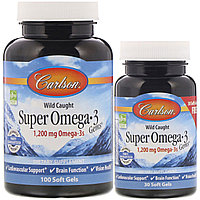 Carlson Labs, Омега-3, 1 200 мг, 100 + 30 мягких таблеток