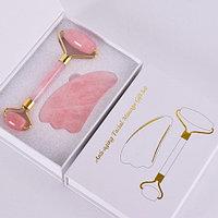 Набор для массажа: роллер-массажер для лица + кристалл Гуаша из розового кварца
