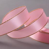 Лента атласная «Золотые нити», 25 мм × 23 ± 1 м, цвет розовый №004