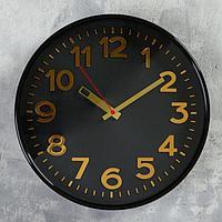 """Часы настенные круглые """"Классика"""", чёрный обод, 30х30 см, микс"""