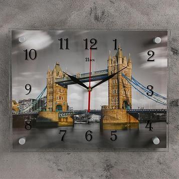 """Часы настенные, серия: Город, """"Тауэрский мост, Красный и Ч/Б"""", 30х40  см, микс"""