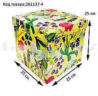 Подарочная коробка ХL (25x25х25) квадратная со съемной крышкой в весенней тематике желтого цвета с цветами