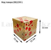 Подарочная коробка S (11x11х11) квадратная со съемной крышкой в цветочной тематике с маком