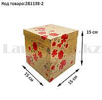 Подарочная коробка M (15x15х15) квадратная со съемной крышкой в цветочной тематике с маком