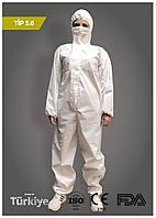 Комбинезон защитный медицинский с капюшоном белый 5.6 тип EN ISO 13034