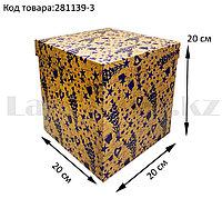 Подарочная коробка L (20x20x20) квадратная со съемной крышкой в цветочной тематике с фиолетовыми цветами
