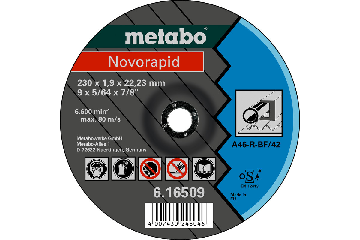 Отрезной диск Metabo (Novorapid) 230 X 1,9 X 22,23 мм, сталь,TF 42