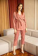 Женские осенние розовые деловые брюки Ivera 683 розовый, черный 42р.