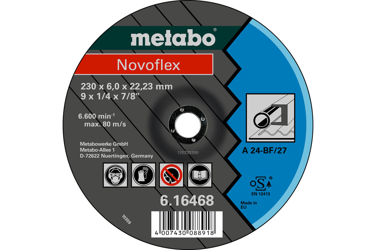 Шлифовальный диск Metabo (Novoflex) 230 x 6,0 x 22,23 мм, сталь,BF 27