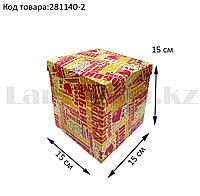 Подарочная коробка M (15x15x15) квадратная со съемной крышкой с пожеланиями