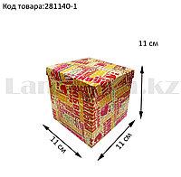 Подарочная коробка S (11x11x11) квадратная со съемной крышкой с пожеланиями