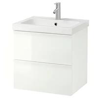 Шкаф для раковины с 2 ящ, ОДЕНСВИК, глянцевый белый/ДАЛЬШЕР смеситель63x49x64 смИКЕА IKEA