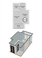 1 комнатная квартира в ЖК Кристалл 2 34.04 м²