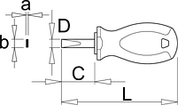 Отвёртка шлицевая укороченная, рукоятка TBI - 627TBI UNIOR, фото 2