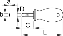 Отвёртка шлицевая укороченная, рукоятка CR - 627CR UNIOR, фото 2