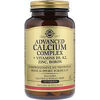 Улучшенный кальциевый комплекс с витаминами Д3, К2, цинком и бором, Солгар, 120 таблеток