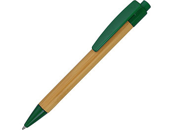 Ручка шариковая Borneo из бамбука, зеленый, черные чернила