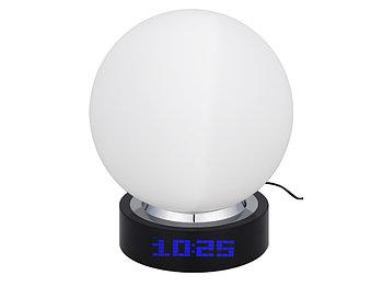 Лампа настольная с часами, датой и термометром. При включении на поверхности лампы появляется стилизованное