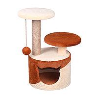 Когтеточка - лежанка домик с 2 лежанками круглый малый комбинированный 7 Котиков