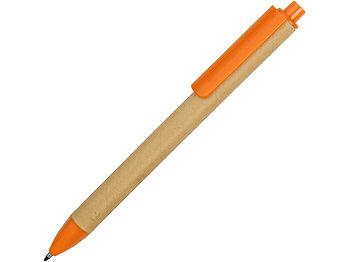 Ручка картонная пластиковая шариковая Эко 2.0, бежевый/оранжевый