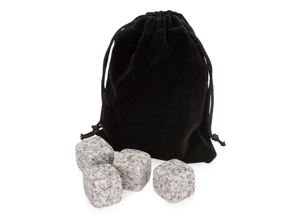 Камни для виски Gentleman в бархатном мешочке, 4 шт, серый