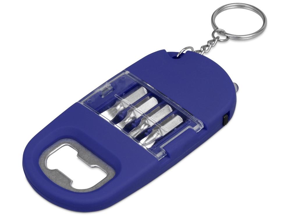 Брелок-открывалка с отвертками и фонариком Uni, софт-тач, синий