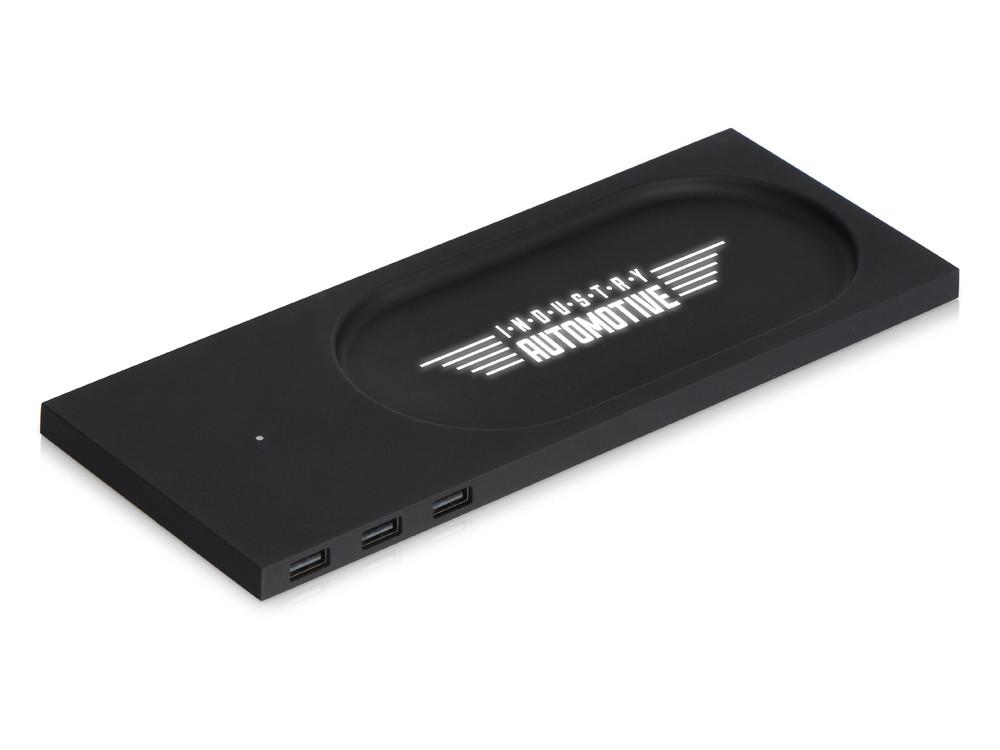 Беспроводное настольное зарядное устройство Glide с подсветкой, софт тач