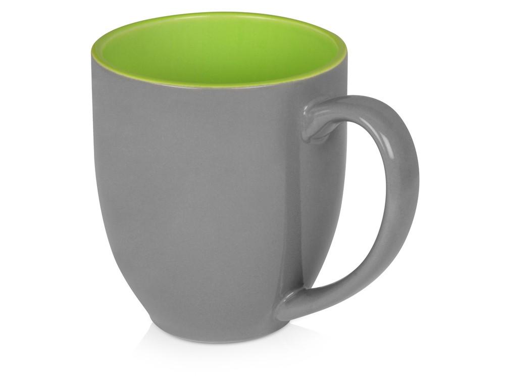 Кружка керамическая Gracy 470мл, серый/зеленое яблоко