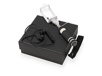 Подарочный набор Selfie с Bluetooth наушниками и моноподом, черный