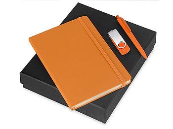 Подарочный набор Vision Pro Plus soft-touch с флешкой, ручкой и блокнотом А5, оранжевый