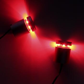 Дистанционный держатель  алюминиевый с подсветкой 25×25 КРАСНЫЙ (2шт)