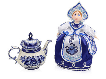 Набор Гжель: кукла на чайник, чайник заварной с росписью