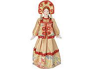 Набор Катерина: кукла в народном костюме, платок в деревянном сундуке, золтистый/красный, фото 2