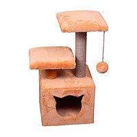Когтеточка - домик с 2 лежанками квадратный малый 7 Котиков