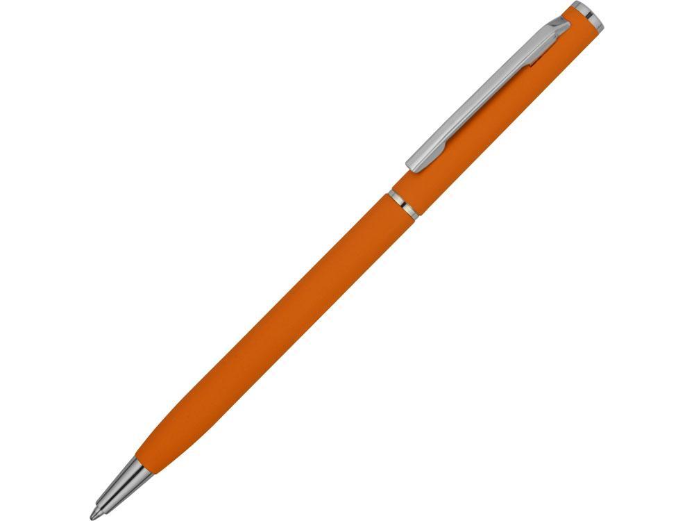 Ручка металлическая шариковая Атриум с покрытием софт-тач, оранжевый
