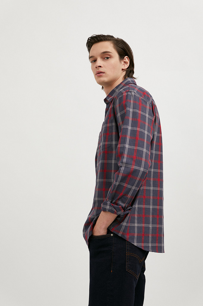 Рубашка мужская Finn Flare, цвет темно-синий, размер XL - фото 4
