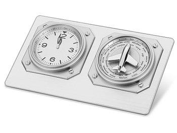 Часы настольные Часовой пояс, серебристый (Р)