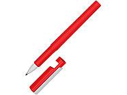 Ручка пластиковая шариковая трехгранная Nook с подставкой для телефона в колпачке, красный/белый, фото 5