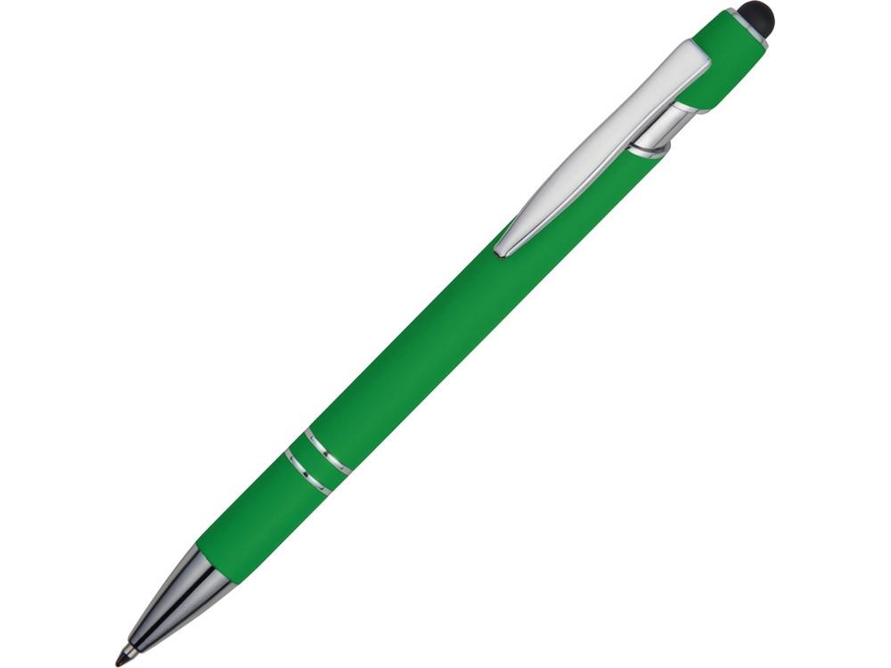 Ручка металлическая soft-touch шариковая со стилусом Sway, зеленый/серебристый