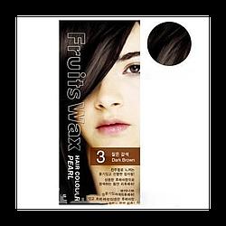 Краска для волос на фруктовой основе Fruits Wax Pearl Hair Color, оттенок 03 Dark Brown, WELCOS 60 мл/60 г