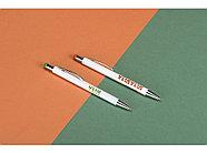 Ручка металлическая шариковая Flowery со стилусом и цветным зеркальным слоем, белый/оранжевый, фото 5