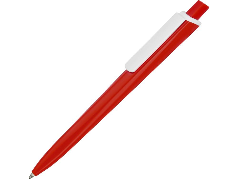 Ручка пластиковая трехгранная шариковая Lateen, красный/белый